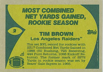 1989 Topps #2 Tim Brown Back