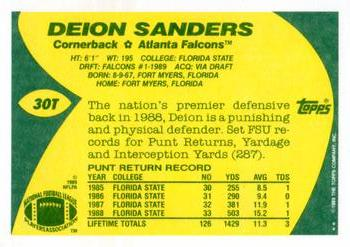 1989 Topps Traded #30T Deion Sanders Back