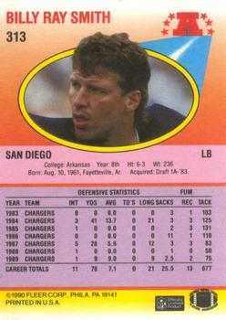 1990 Fleer #313 Billy Ray Smith Back