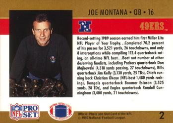 1990 Pro Set #2 Joe Montana Back