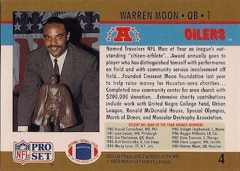 1990 Pro Set #4 Warren Moon Back