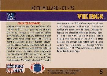 1990 Pro Set #5 Keith Millard Back