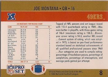 1990 Pro Set #8 Joe Montana Back