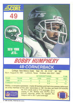 1990 Score #49 Bobby Humphery Back