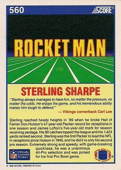 1990 Score #560 Sterling Sharpe Back