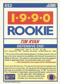 1990 Score #652 Tim Ryan Back