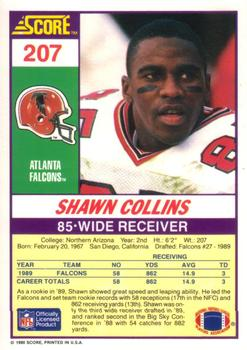1990 Score #207 Shawn Collins Back