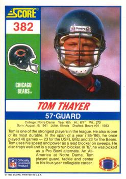 1990 Score #382 Tom Thayer Back