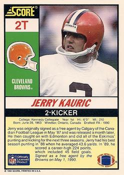 1990 Score Supplemental #2T Jerry Kauric Back