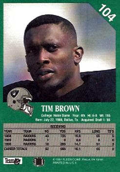 1991 Fleer #104 Tim Brown Back