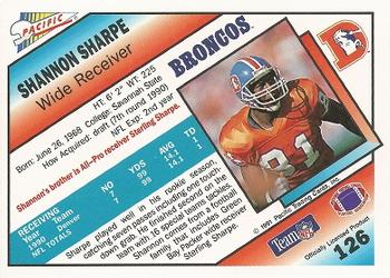 1991 Pacific #126 Shannon Sharpe Back