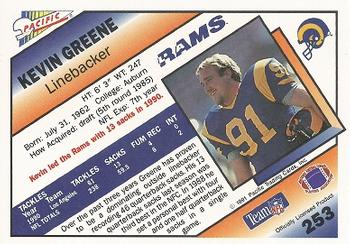 1991 Pacific #253 Kevin Greene Back
