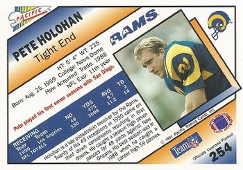 1991 Pacific #254 Pete Holohan Back