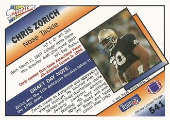 1991 Pacific #541 Chris Zorich Back