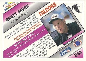 1991 Pacific #551 Brett Favre Back