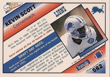1991 Pacific #582 Kevin Scott Back