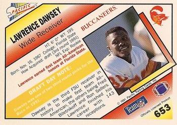 1991 Pacific #653 Lawrence Dawsey Back