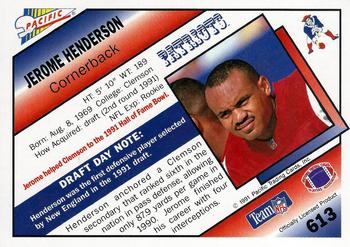 1991 Pacific #613 Jerome Henderson Back