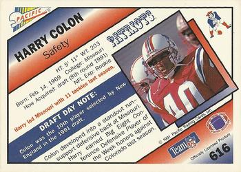 1991 Pacific #616 Harry Colon Back