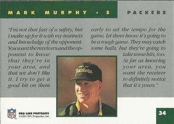 1991 Pro Line Portraits #34 Mark Murphy Back