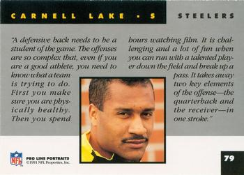1991 Pro Line Portraits #79 Carnell Lake Back