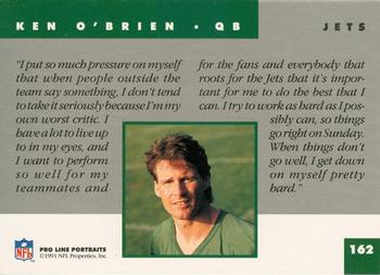 1991 Pro Line Portraits #162 Ken O'Brien Back