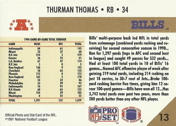 1991 Pro Set #13 Thurman Thomas Back