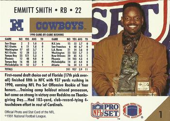 1991 Pro Set #1b Emmitt Smith Back