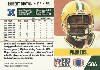 1991 Pro Set #506 Robert Brown Back