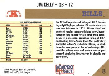 1991 Pro Set #8 Jim Kelly Back