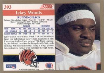 1991 Score #393 Ickey Woods Back