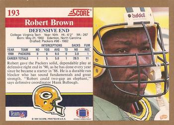 1991 Score #193 Robert Brown Back