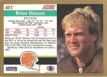 1991 Score Supplemental #40T Brian Hansen Back