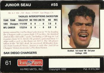 1992 Action Packed Rookie Update #61 Junior Seau Back