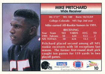 1992 Pacific #10 Mike Pritchard Back