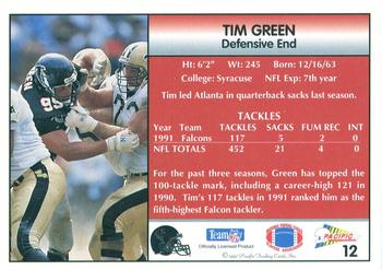 1992 Pacific #12 Tim Green Back