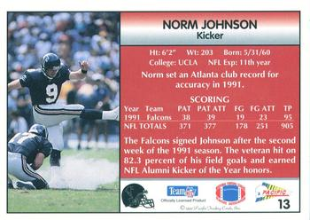 1992 Pacific #13 Norm Johnson Back