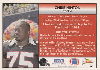 1992 Pacific #5 Chris Hinton Back