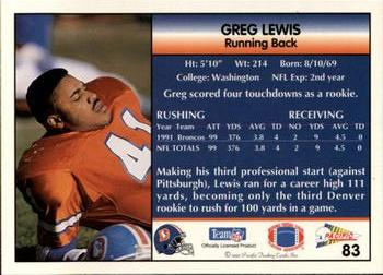 1992 Pacific #83 Greg Lewis Back