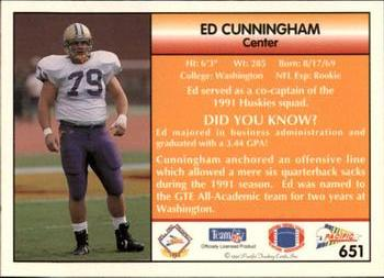 1992 Pacific #651 Ed Cunningham Back