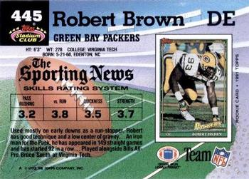 1992 Stadium Club #445 Robert Brown Back