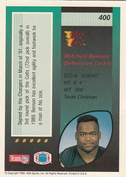 1992 Wild Card #400 Mitchell Benson Back