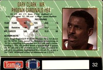 1993 Action Packed #32 Gary Clark Back