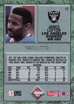 1993 Collector's Edge #17 James Lofton Back