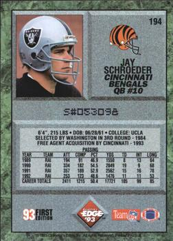 1993 Collector's Edge #194 Jay Schroeder Back