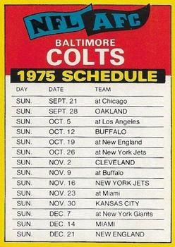 1975 Topps - Team Checklists #NNO Baltimore Colts Front