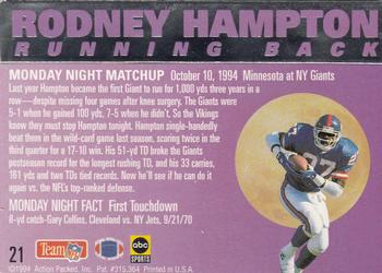 1994 Action Packed Monday Night Football #21 Rodney Hampton Back