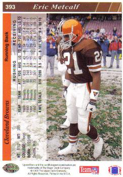1993 Upper Deck #393 Eric Metcalf Back