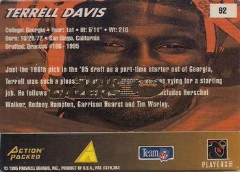 1995 Action Packed Rookies & Stars - Stargazers #92 Terrell Davis Back
