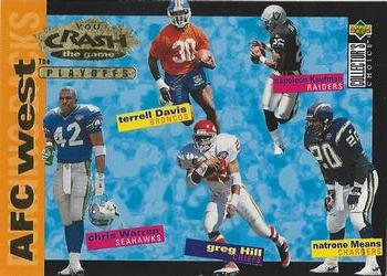 1995 Collector's Choice Update - Crash the Playoffs Gold #CP9 Terrell Davis / Napoleon Kaufman / Chris Warren / Greg Hill / Natrone Means Front
